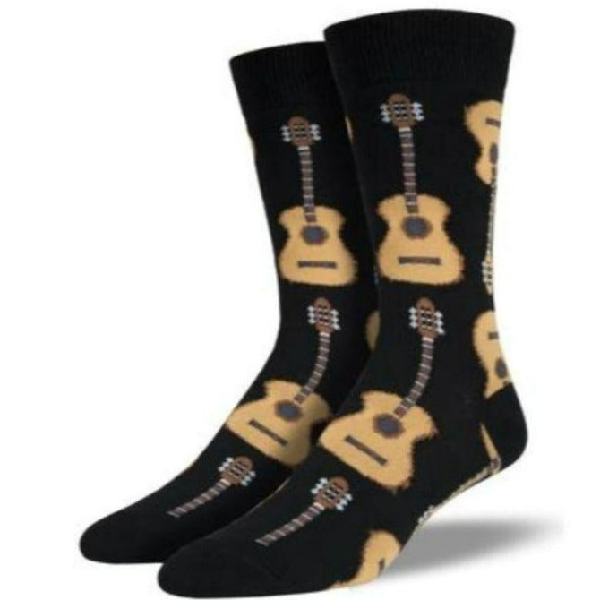 Guitar Socks Men's Crew Sock KING Shoe Size 12-15 / Black