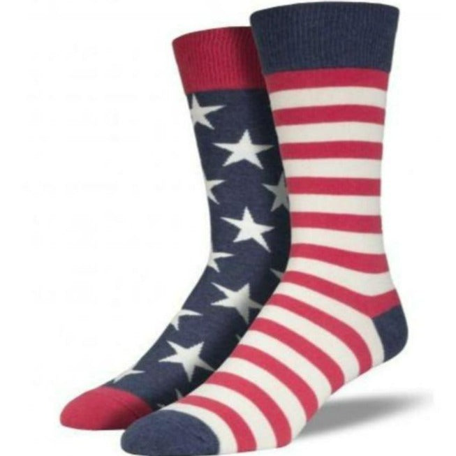 USA Mismatched Flag Socks Men's Crew Sock Vintage / Shoe Sizes 7-12 / Red