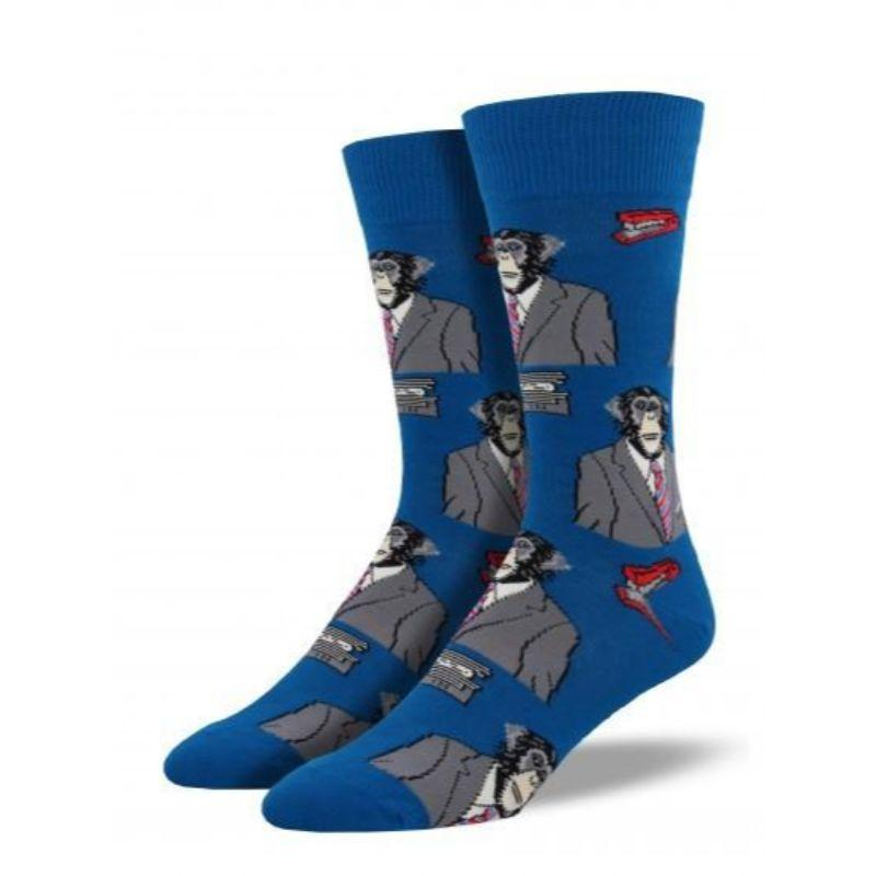 Monkey Biz Socks - Men's Crew Socks Blue