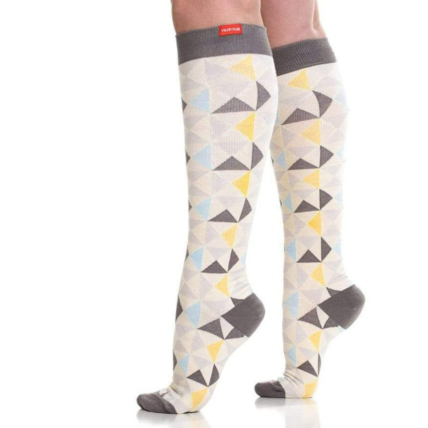 MODERN TRIANGLE GRAY & GOLD COMPRESSION SOCKS 1