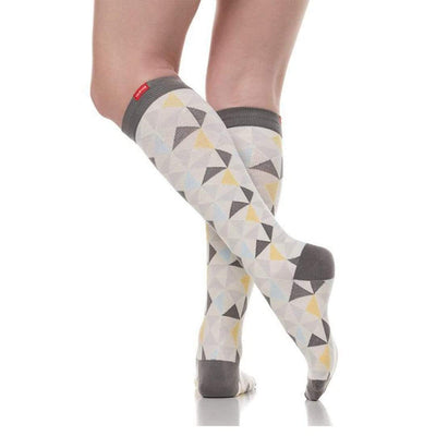 Modern Triangle: Gray & Gold Compression Socks Unisex Knee High Sock