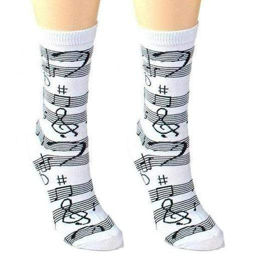 womens crew socks with musical theme