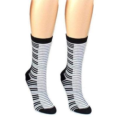 Musical Theme Socks Women's Crew Sock Piano Keys / White