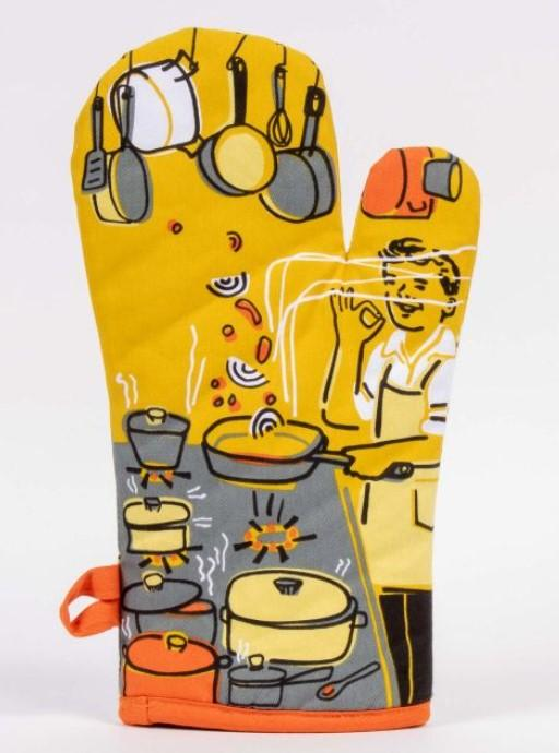 Man With a Pan Oven Mitt Yellow