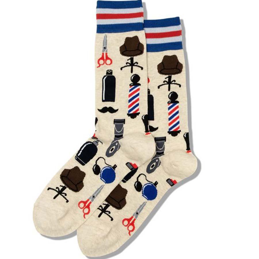 Barber Shop Men's Crew Socks Tan