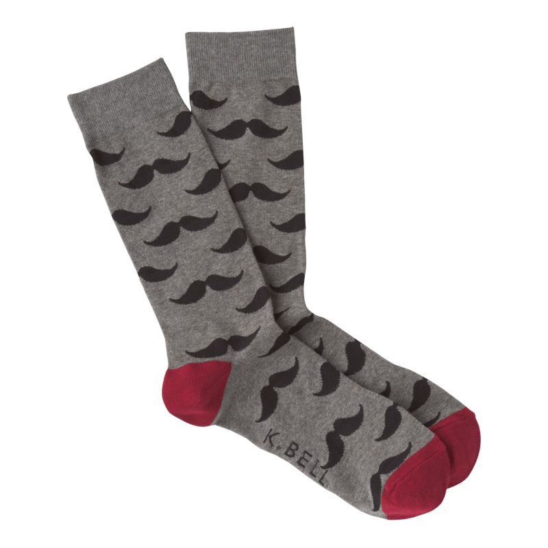 Mustache Socks Men's Crew Sock Regular / Grey
