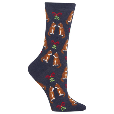 Mistletoe Cat Socks -- Crew Socks for Women