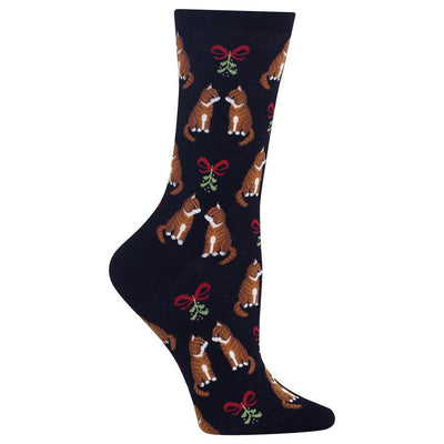 Mistletoe Cat Socks -- Black
