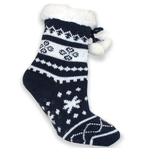 Children's Sherpa Christmas Slipper Socks Navy
