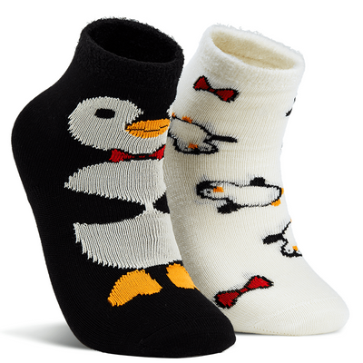 Naaman's Penguins Fuzzy Socks Black / White / Medium