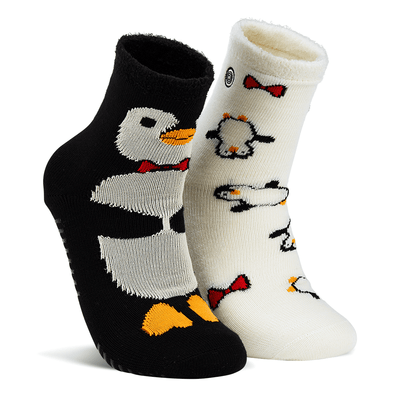 Naaman's Penguins Fuzzy Socks Black / White / Large
