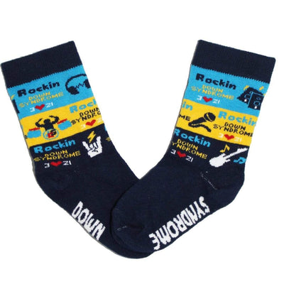 Navy Rockin Down Syndrome – Junior Crew Socks