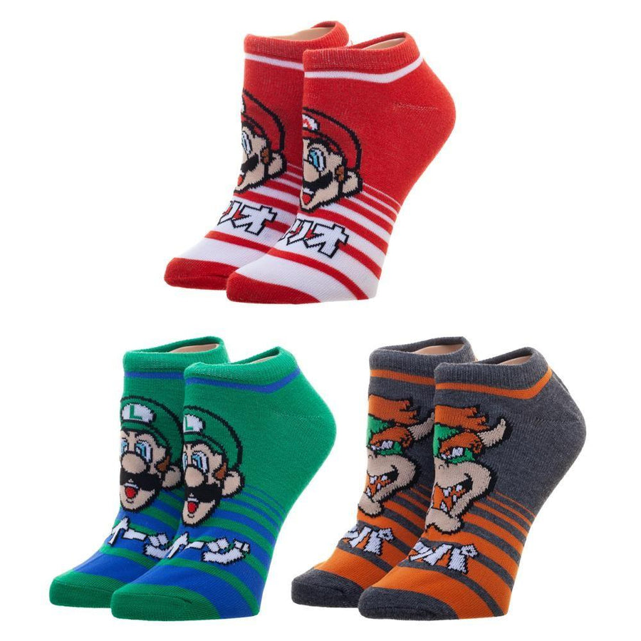 a57df8c5e0a Super Mario Brothers Striped 3 Pack Socks Women s Ankle Sock