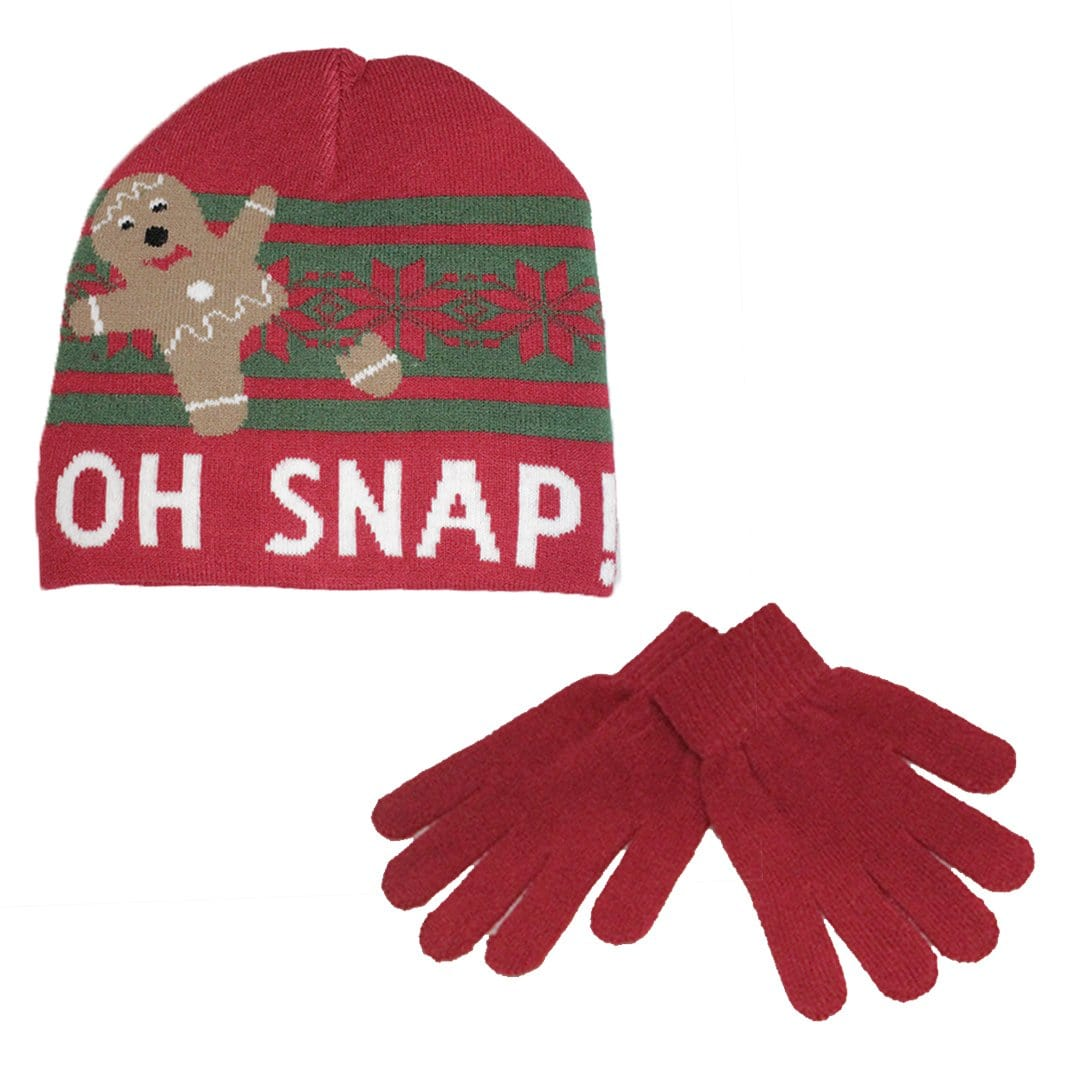 Oh Snap Hat & Gloves Set Red