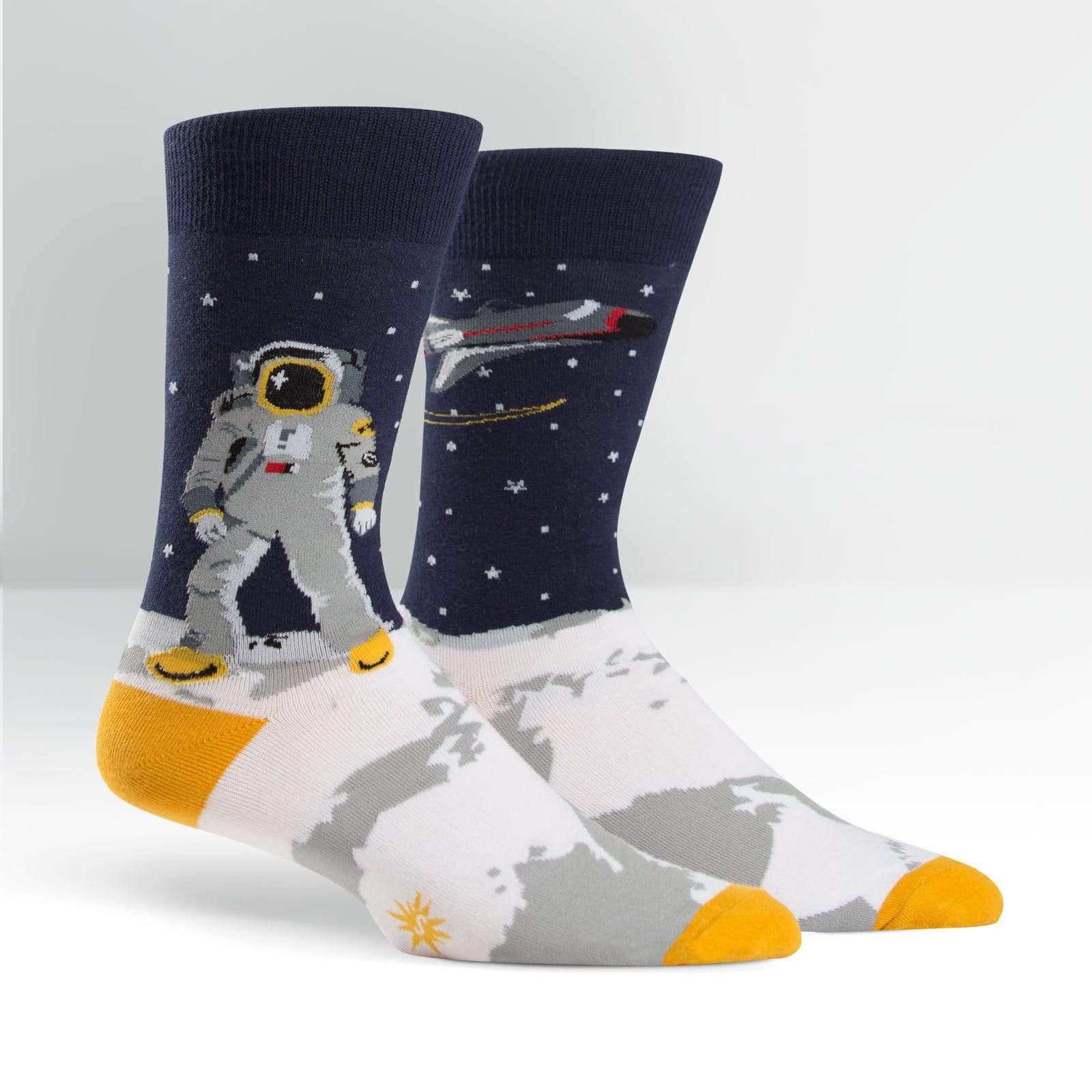 """One Giant Leap"" Astronaut Socks - Crew Socks for Men"
