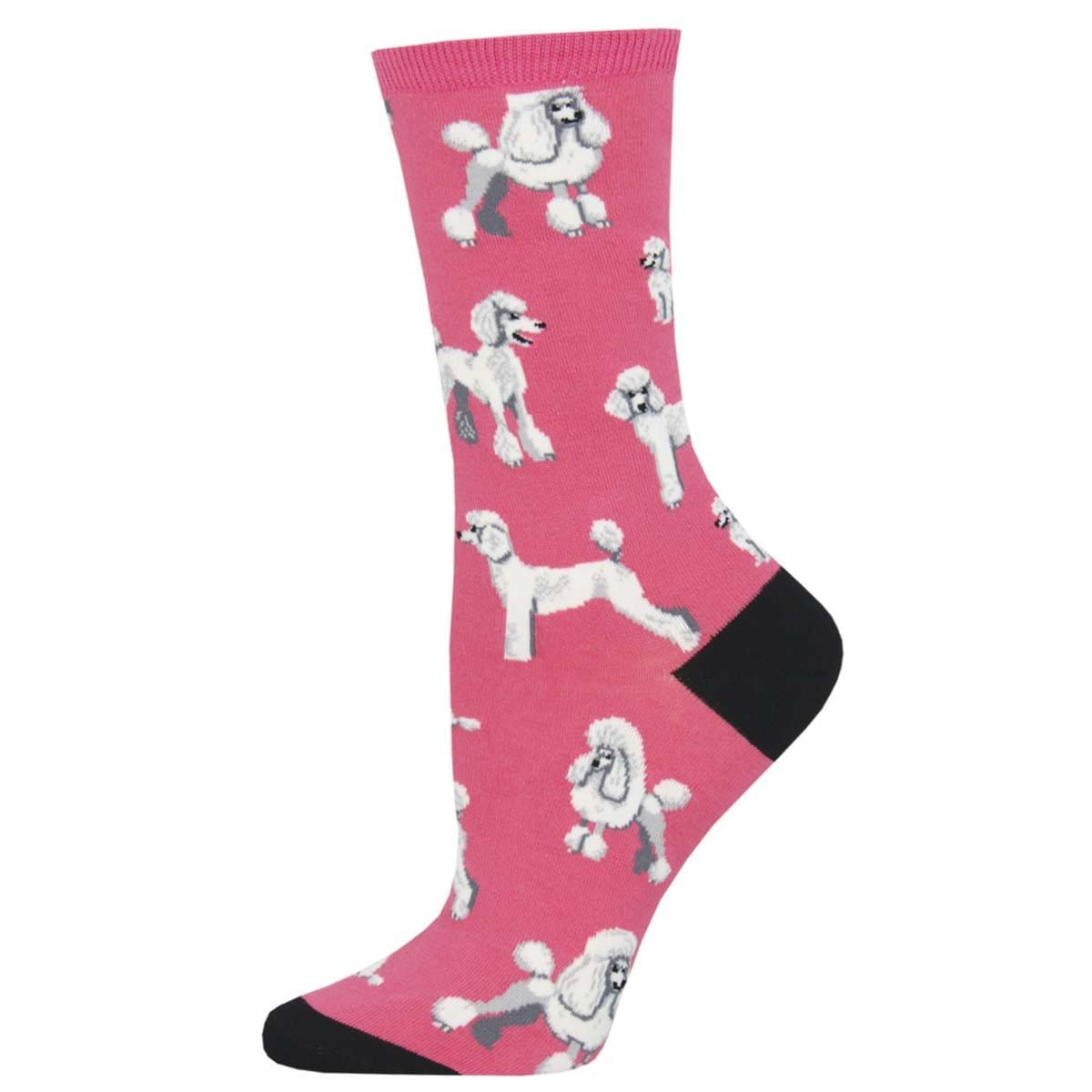 Oodles of Poodles Women's Crew Sock Pink
