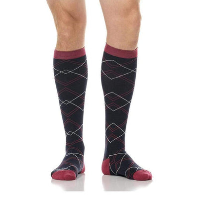 Overlap Diamonds Compression Socks Unisex Knee High Sock Small / black