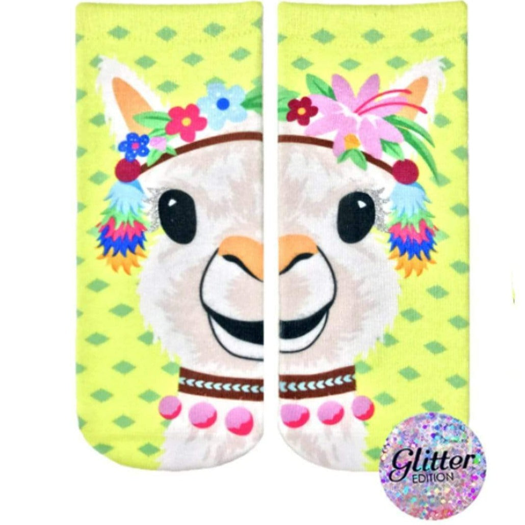 Party Llama Glitter Ankle Sock