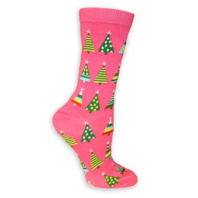 Christmas Trees Women's Holiday Sock Pink