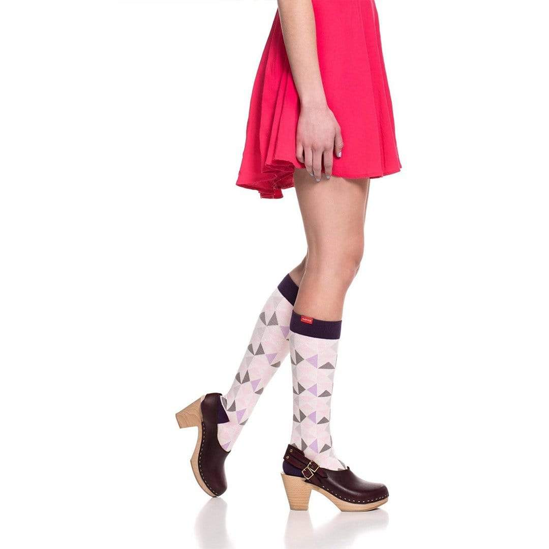 Modern Triangle: Pink & Lavender Compression Socks Unisex Knee High Sock