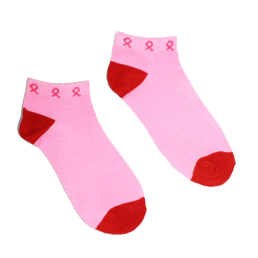 pink ribbon breast cancer awareness ankle socks