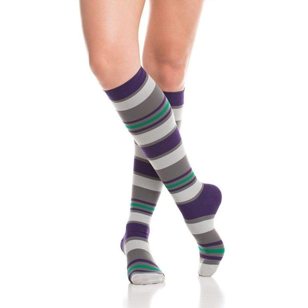 Purple & Grey Fun Stripes Firm Compression Socks