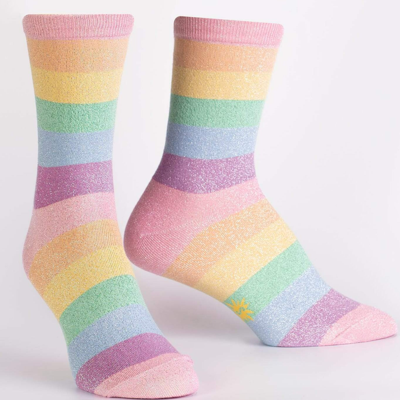 Pastel Prismatic Women's Crew Sock Pastel Stripes