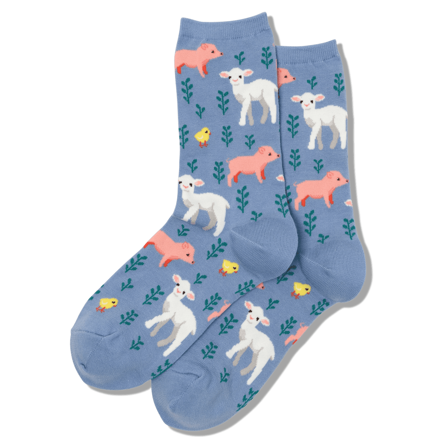 Piglet Lamb and Chick Women's Crew Sock Blue