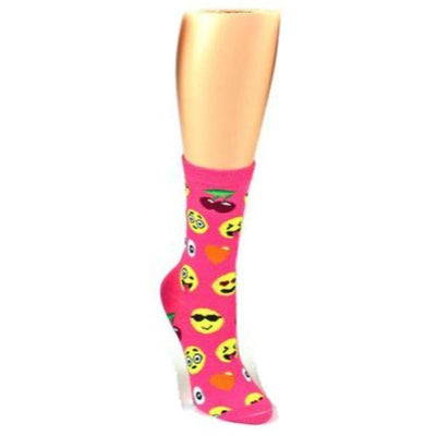 Emoji Socks Women's Crew Socks Hot pink with emojis