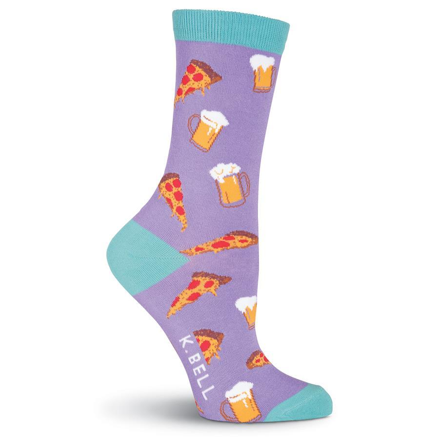Pizza & Beer Socks -Women's Crew Sock Purple