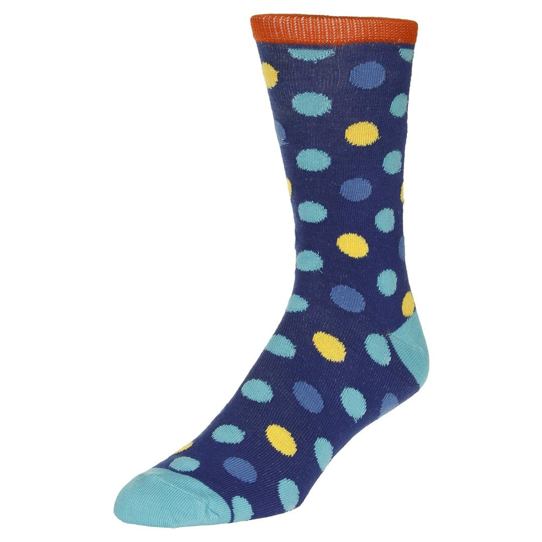 Polka Dot Socks Men's Dress Sock Blue with blue and yellow dots