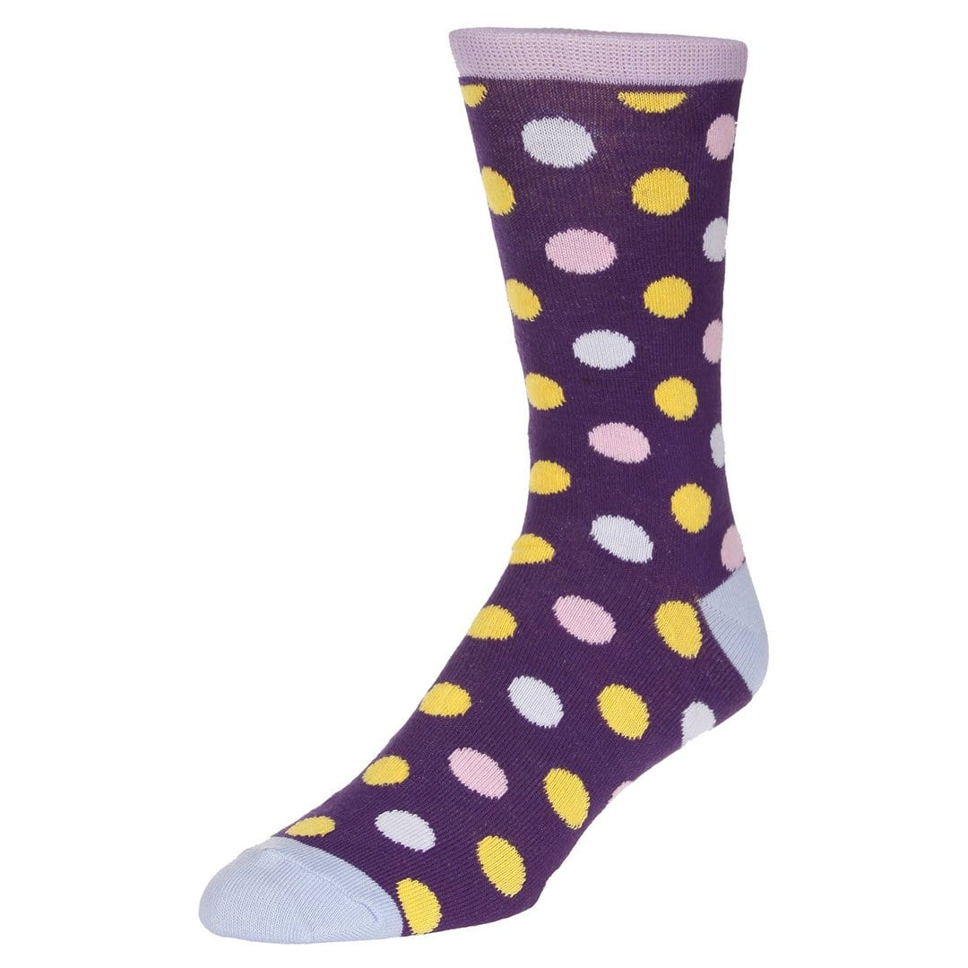 Polka Dot Socks Men's Dress Sock Purple with yellow and pink dots