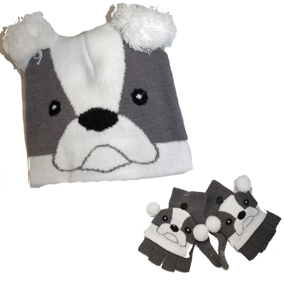Puppy Dog Kid's Hat & Gloves Set White