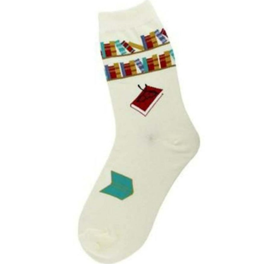 Reading Books Socks Women's Crew Sock White