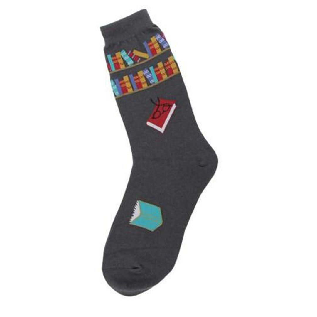 Reading Books Socks Women's Crew Sock Charcoal