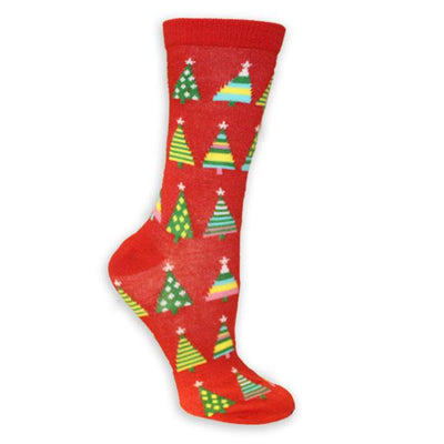 Christmas Trees Women's Holiday Sock Red