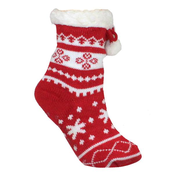 Children's Sherpa Christmas Slipper Socks Red