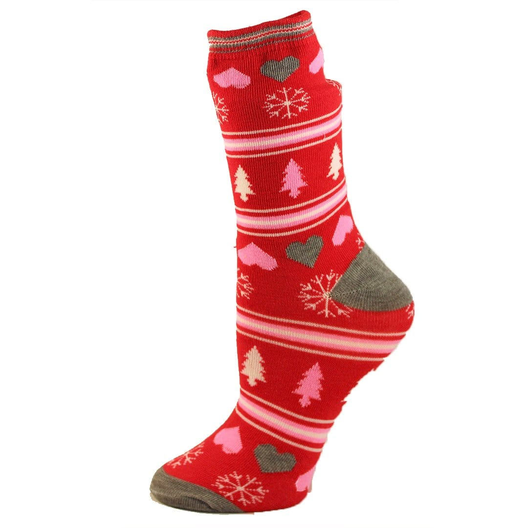 Red Snowflakes and Trees Socks Women's Crew Sock Red