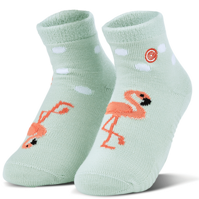 Reese's Flamingos Fuzzy Socks Teal / Small