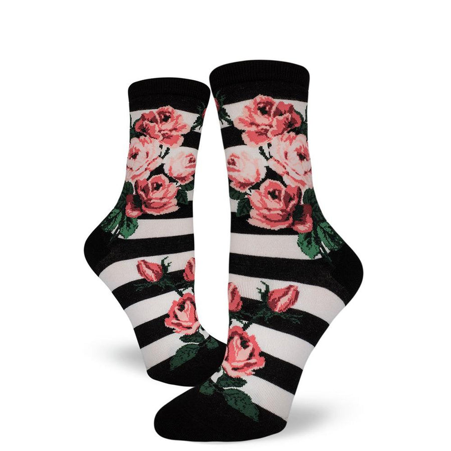 Romantic Rose Striped Crew Socks for Women