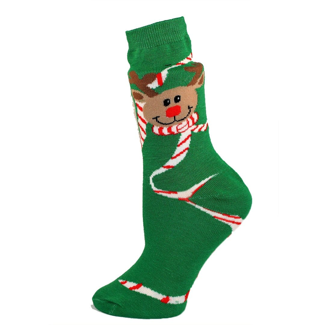 Rudolph with Candy Canes Socks Women's Crew Sock Green