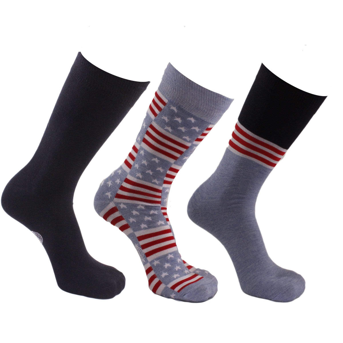 Stars & Stripes 3 Pack Crew Socks Red / White / Blue