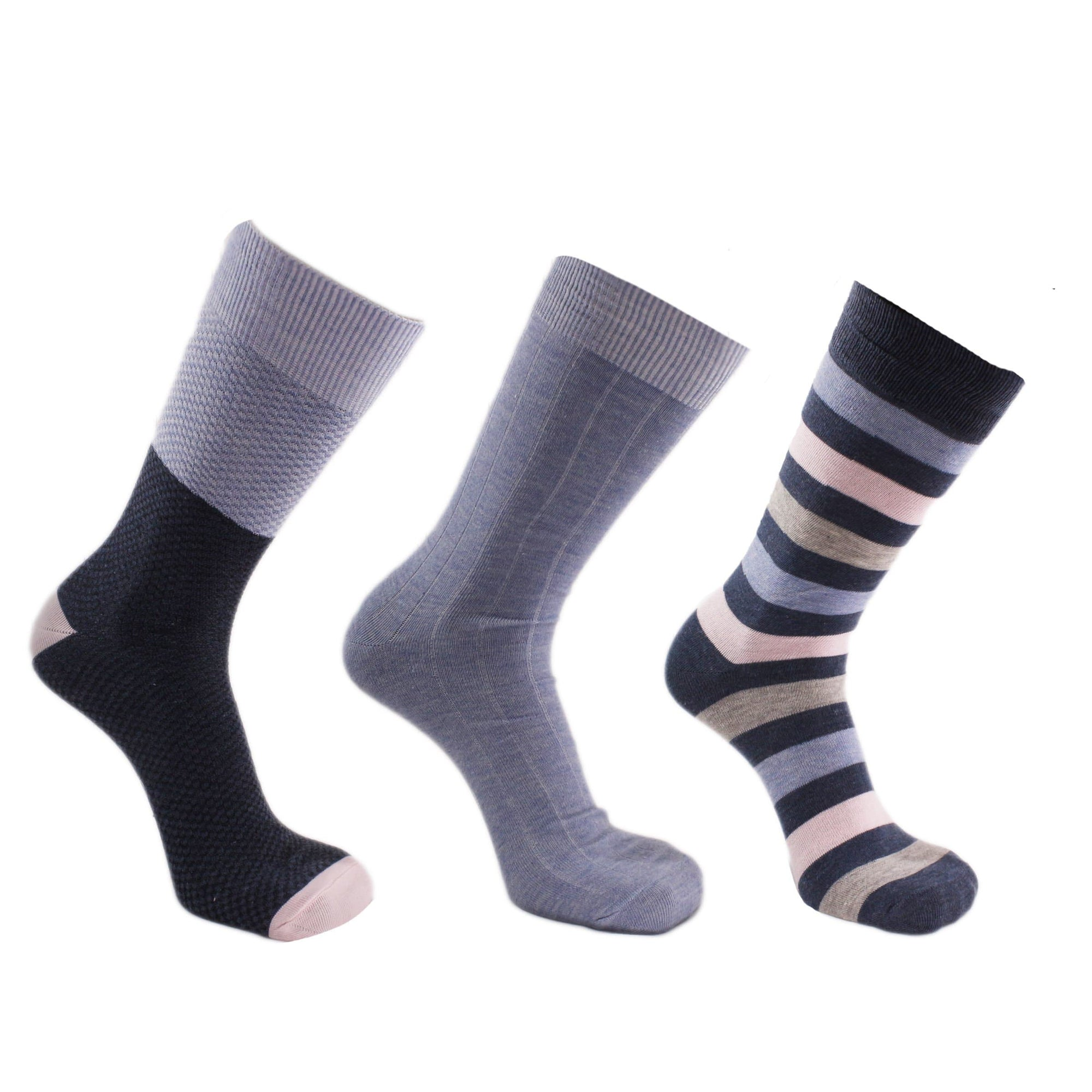 Waffle Texture 3 Pack Crew Socks Blue / Pink / Grey