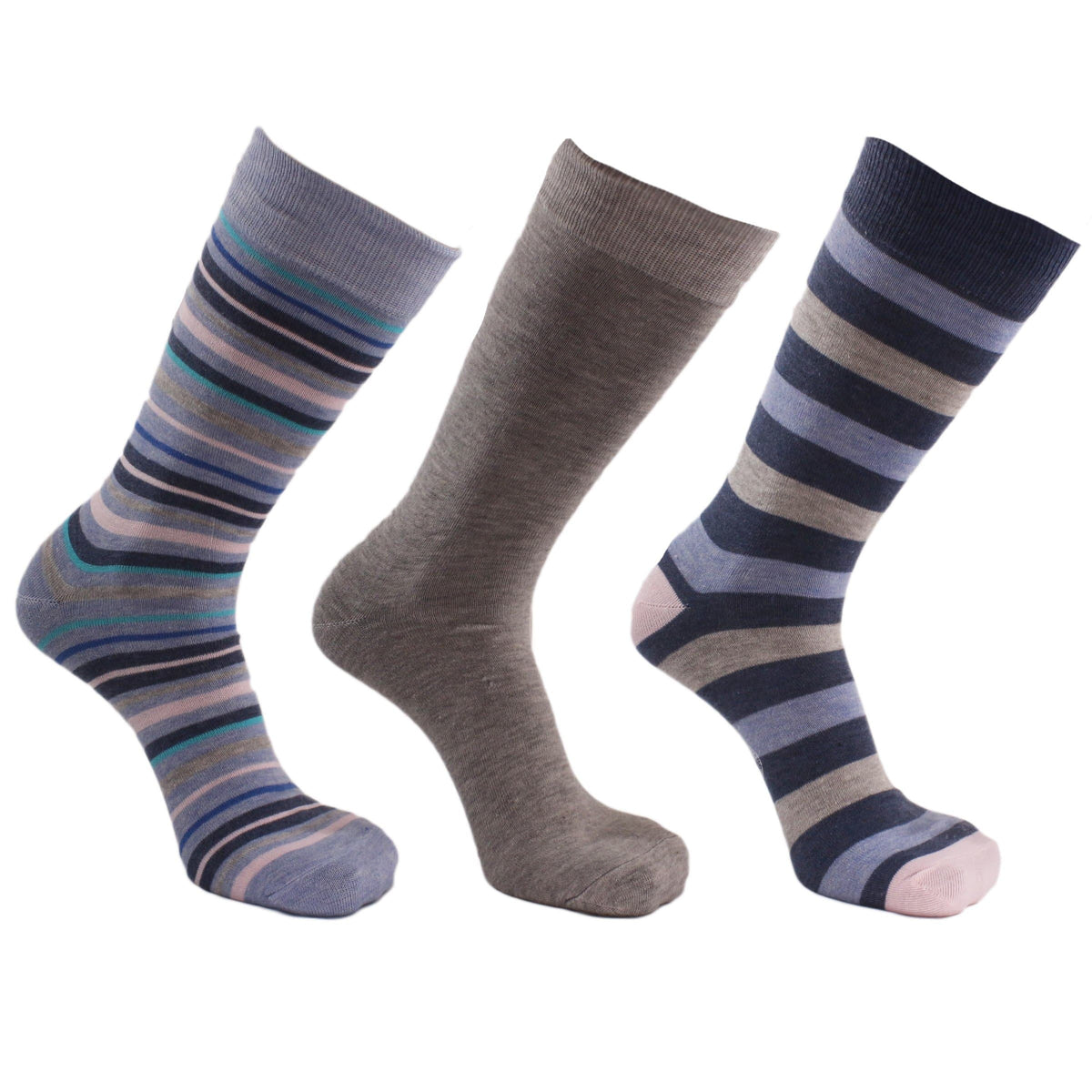 Stripe 3 Pack Crew Socks Blue / Grey