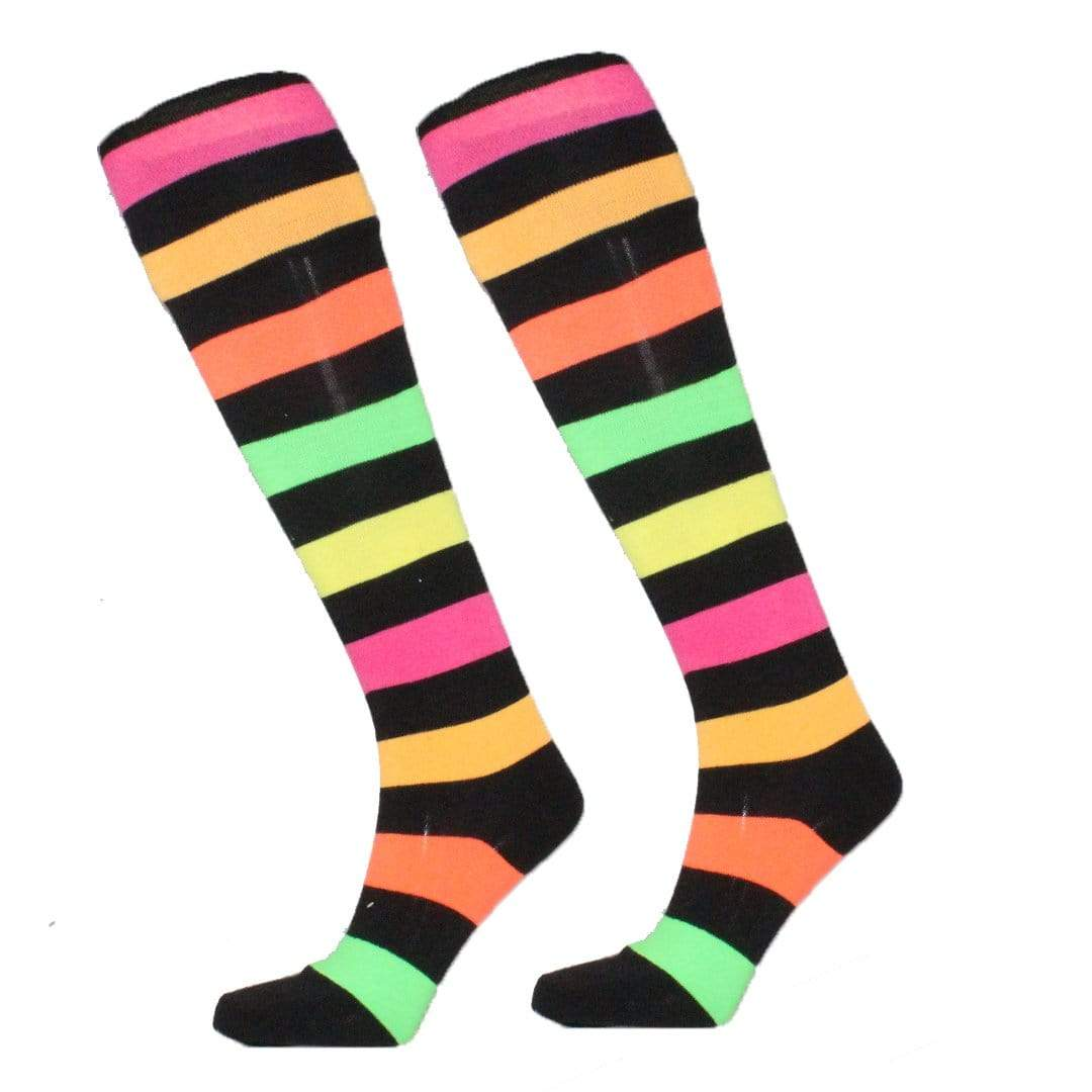 Rainbow Stripe Socks Women's Over The Knee Sock Black