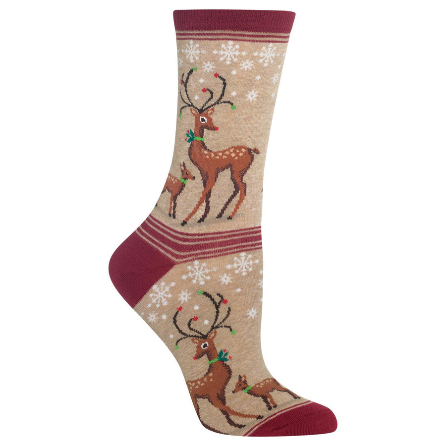 Reindeer Socks - Crew Socks for Women-Grey