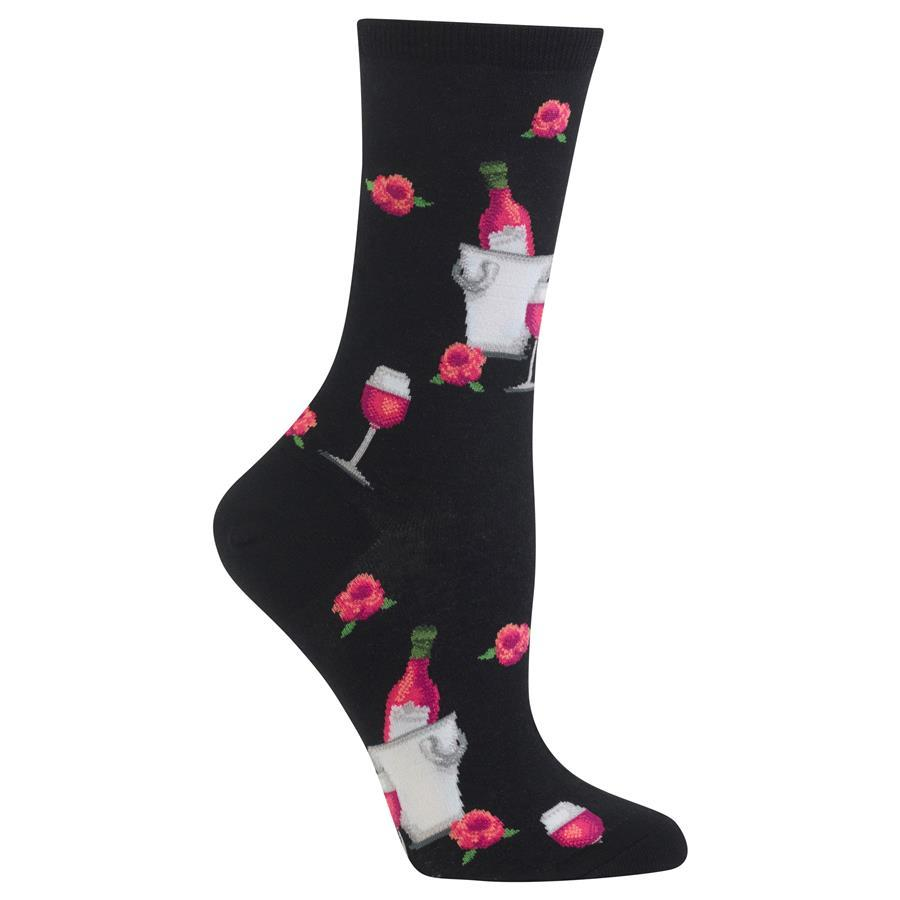Rose Wine Socks -- Black