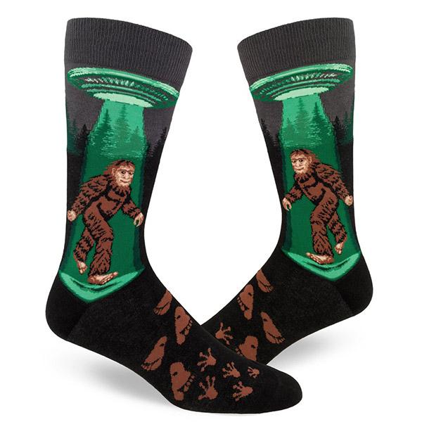 Sasquatch Believes in UFO Men's Crew Socks Black