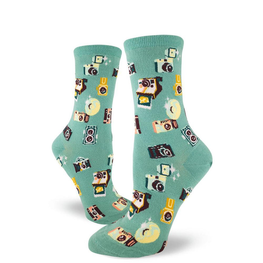 """Say Cheese"" Camera Socks – Crew Socks for Women"