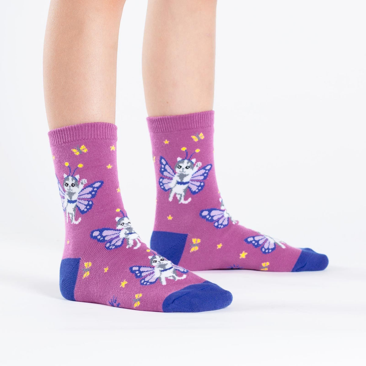 Catterfly Youth Crew Socks pink